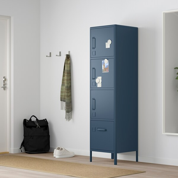 "IDÅSEN high cabinet with smart lock blue 17 3/4 "" 18 1/2 "" 67 3/4 """