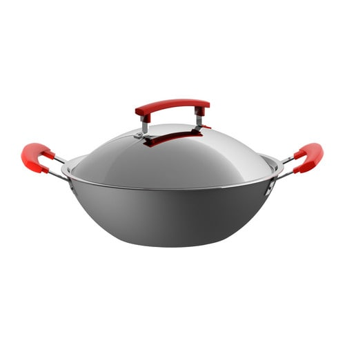 IDENTISK Wok with lid IKEA Works well on all types of cooktops, including induction cooktops.  Two handles make it easy to lift the pan.