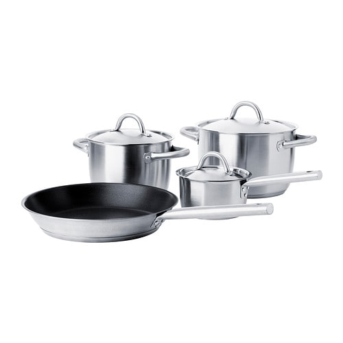 IKEA 365+ 7-piece cookware set IKEA Works well on all types of cooktops, including induction cooktops.  Made all in metal; safe to use in the oven.