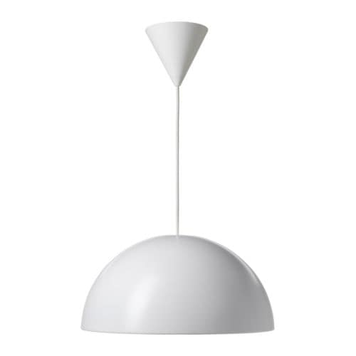 IKEA 365+ BRASA Pendant lamp IKEA Plastic inner casing prevents glare.  Gives a directed light; good for lighting dining tables or coffee tables.
