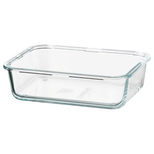 "IKEA 365+ food container rectangular/glass 8 ¼ "" 6 "" 2 ¼ "" 34 oz"