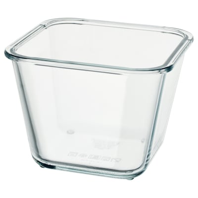 """IKEA 365+ food container square/glass 6 """" 6 """" 4 ¼ """" 41 oz"""