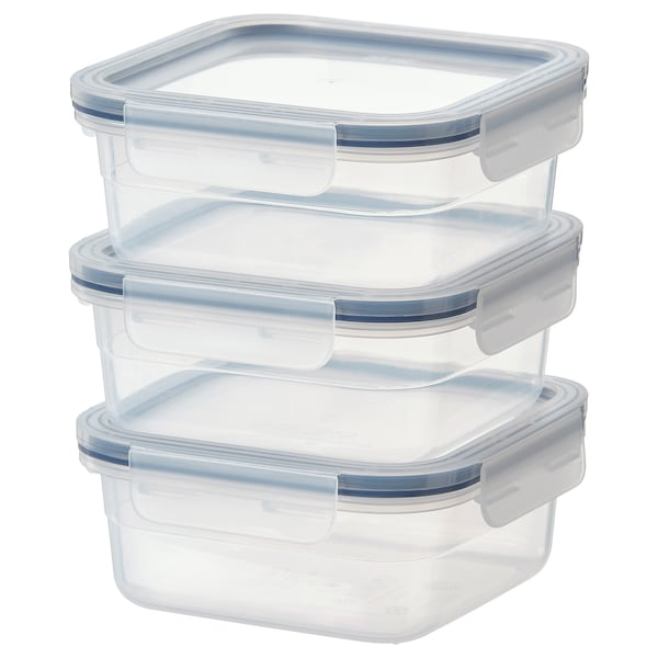 "IKEA 365+ food container square/plastic 3 pack 6 "" 6 "" 2 ¼ "" 25 oz"