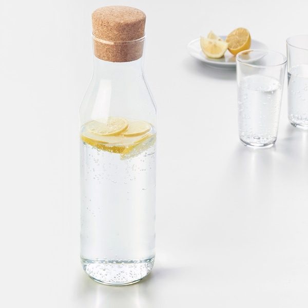 IKEA 365+ Carafe with stopper, clear glass/cork, 34 oz