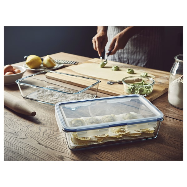 IKEA 365+ Food container with lid, rectangular/glass plastic, 105 oz