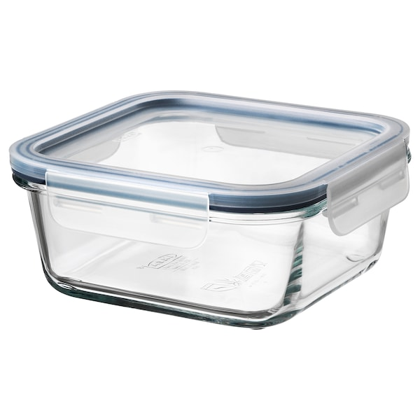 IKEA 365+ Food container with lid, square glass/plastic, 20 oz