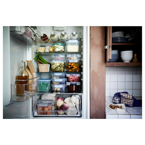 IKEA 365+ Food container with lid, square glass/plastic, 41 oz
