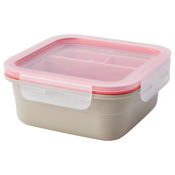 IKEA 365+ Lunch box with containers, square/beige light red, 25 oz