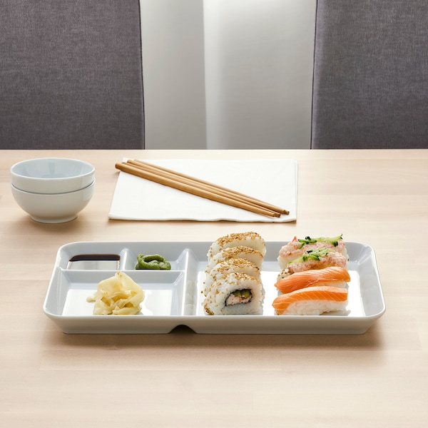 IKEA 365+ Plate with compartments, white, 12x7 ""