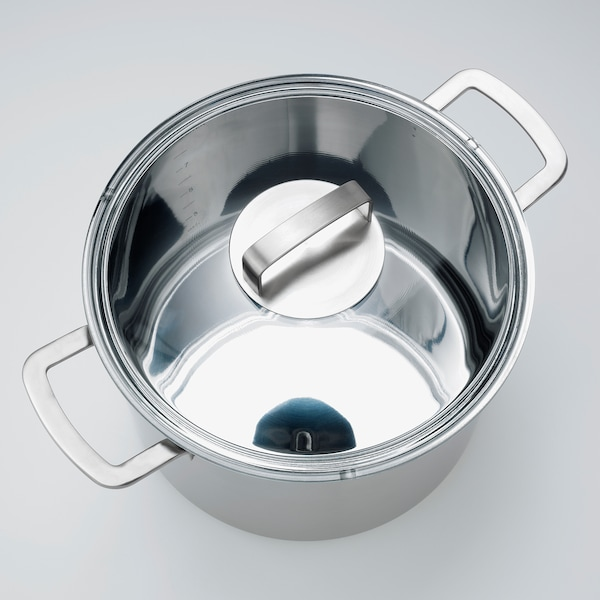 IKEA 365+ Stock pot with lid, stainless steel/glass, 10.6 qt