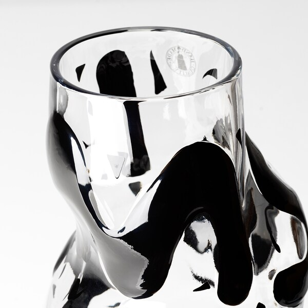 IKEA ART EVENT 2021 Vase, clear glass/black, 9 ¾ ""