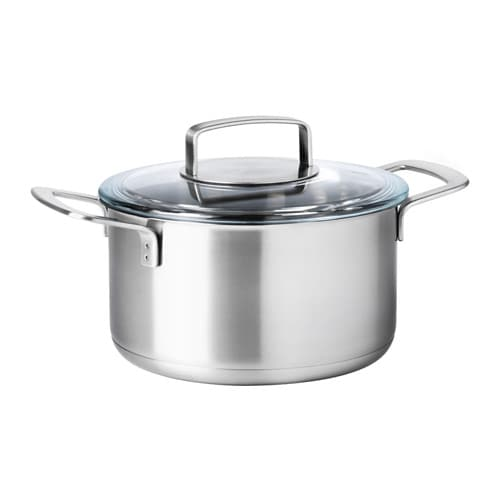 IKEA 365+ Pot with lid, stainless steel, glass