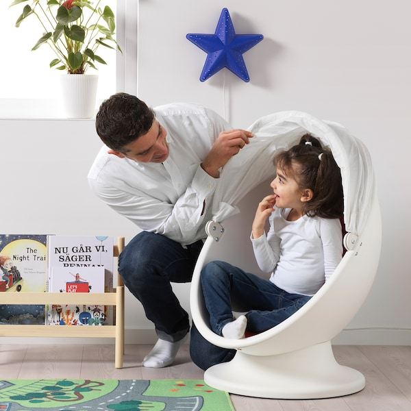 IKEA PS LÖMSK Swivel chair, white/red