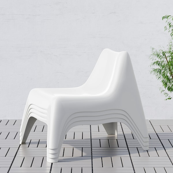 """IKEA PS VÅGÖ chair, outdoor white 243 lb 29 1/8 """" 36 1/4 """" 28 """" 21 5/8 """" 19 5/8 """" 14 1/8 """""""