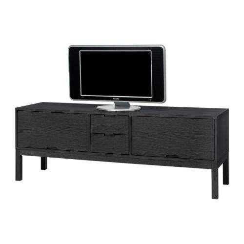 "IKEA STOCKHOLM TV unit, black Width: 63 "" Depth: 17 3/4 "" Height: 22 7/8 "" Max. load: 110 lb Max screen size/flat screen TV: 55 ""  Width: 160 cm Depth: 45 cm Height: 58 cm Max. load: 50 kg Max screen size/flat screen TV: 55 """