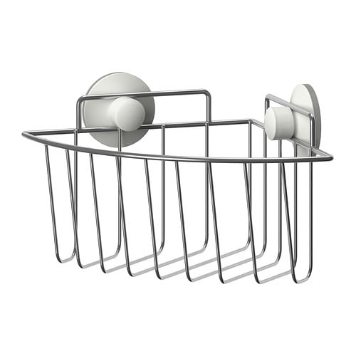 IMMELN Corner shower basket IKEA The suction cup grips smooth surfaces.  Made of zink-plated steel, which is durable and rust resistant.