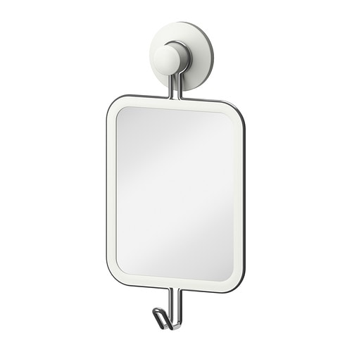 IMMELN Mirror with hook IKEA The suction cup grips smooth surfaces.  Made of zink-plated steel, which is durable and rust resistant.
