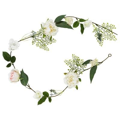 INBJUDEN Artificial garland, Rose/Peony white, 1 ¾ yard