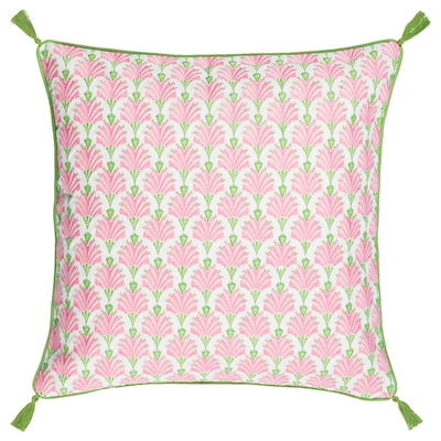 INBJUDEN Cushion cover, white/pink, 20x20 ""