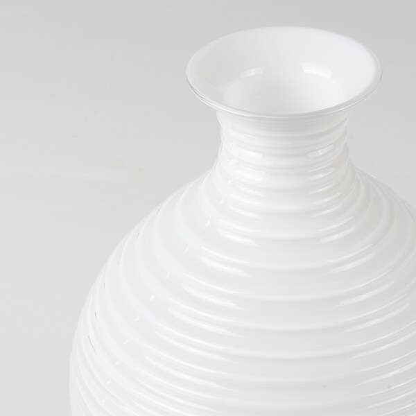 """INBJUDEN Vase, glass white, 7 ¾ """""""