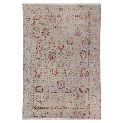 """INDO AGRA FLORAL DISTRESSED Rug, handmade/gray multicolor, light, 5 ' 3 """"x7 ' 7 """""""