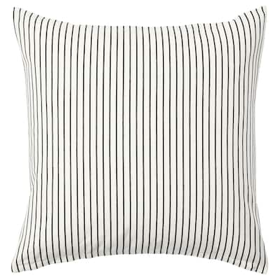 INGALILL Cushion cover, white/dark gray stripe, 20x20 ""