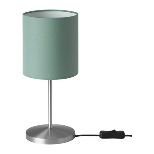 INGARED Table lamp with LED bulb, green