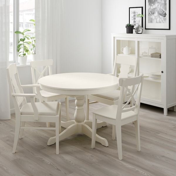 INGATORP / INGOLF Table and 4 chairs, white/Nordvalla beige, 43 1/4/61 ""