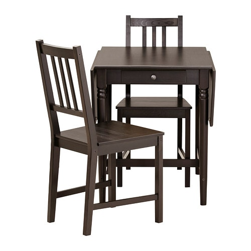INGATORP / STEFAN Table and 2 chairs, black-brown