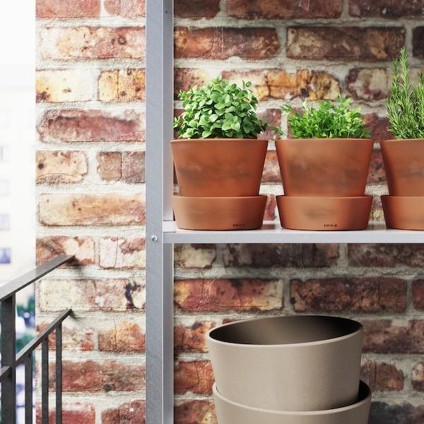 "INGEFÄRA Plant pot with saucer, outdoor/terracotta, 4 ¾ """