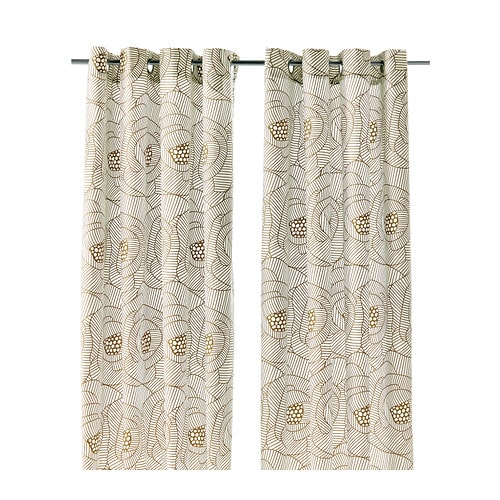 INGERLISE Curtains, 1 pair IKEA The eyelet heading allows you to hang the curtains directly on a curtain rod.