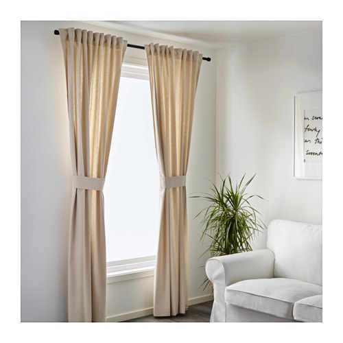 INGERT Curtains with tie-backs, 1 pair IKEA