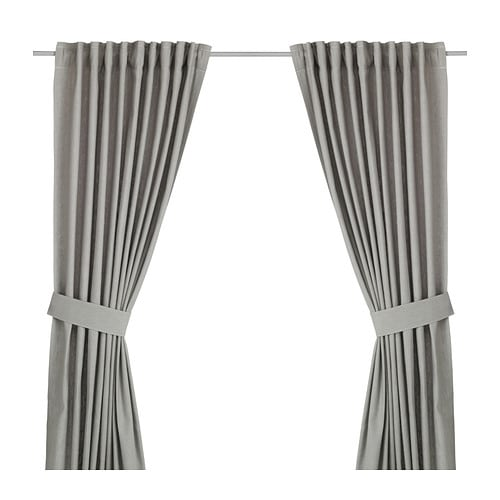 INGERT Curtains with tie-backs, 1 pair, gray gray 57x98