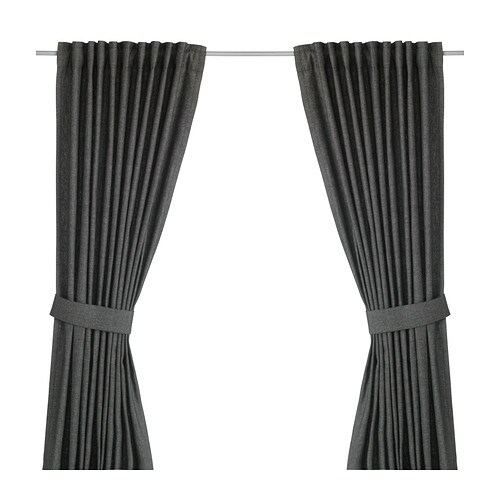 INGERT Curtains with tie-backs, 1 pair, dark gray dark gray 57x98