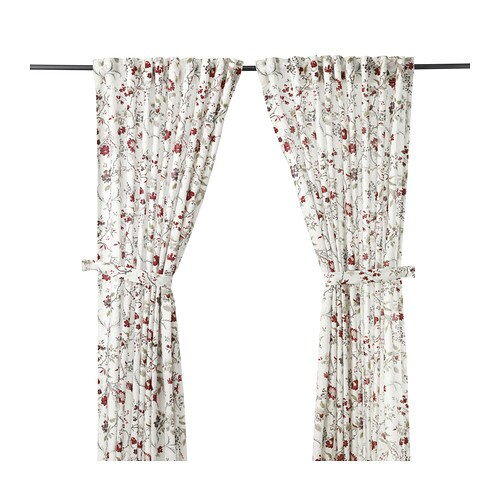 INGMARIE Curtains with tie-backs, 1 pair , multicolor Length: 98