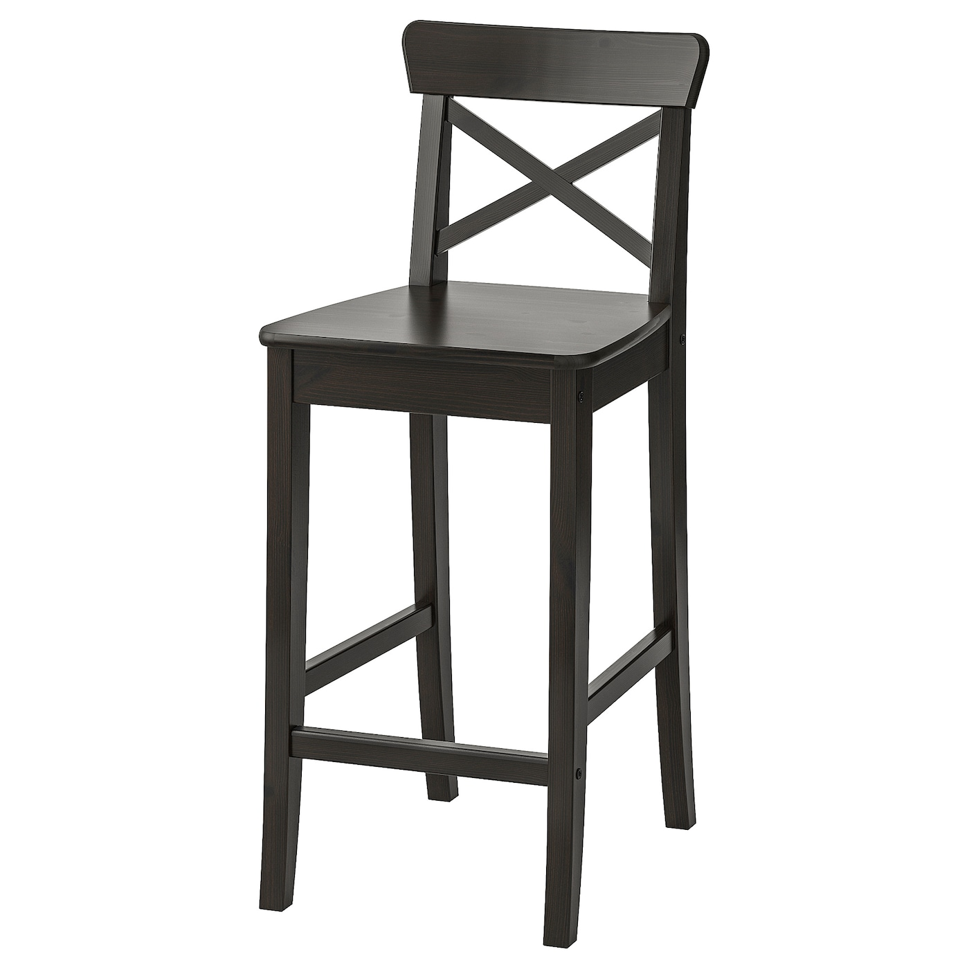 INGOLF Bar stool with backrest   brown black 9 9/9