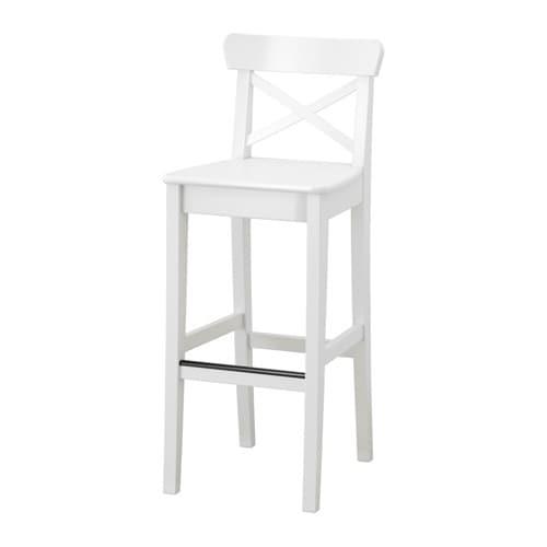INGOLF Bar stool with backrest, white white 29 1/8