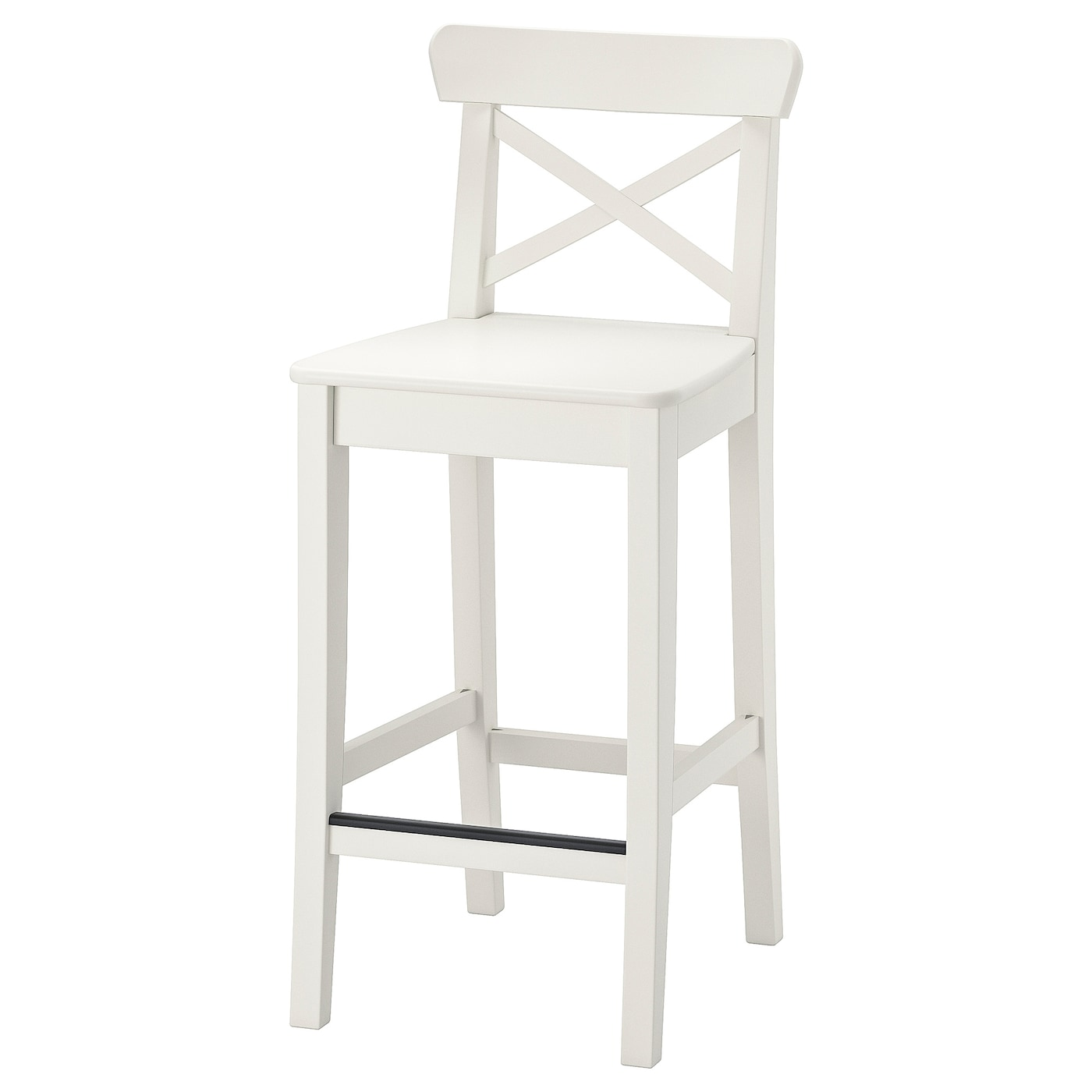 Picture of: Ingolf Bar Stool With Backrest White 24 3 4 Ikea