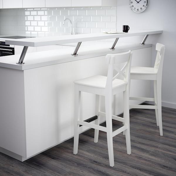 "INGOLF Bar stool with backrest, white, 29 1/8 """