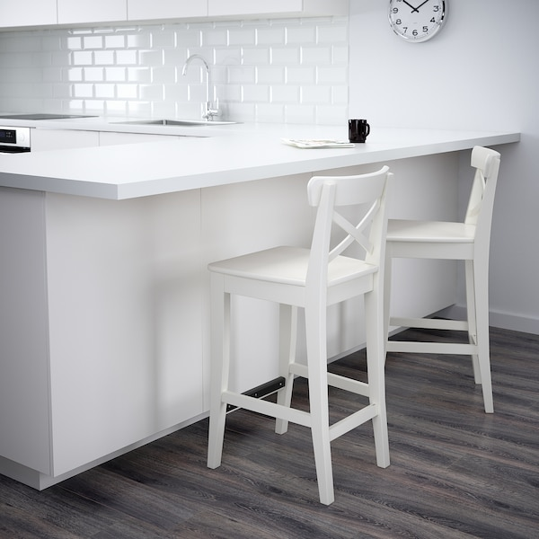 "INGOLF bar stool with backrest white 243 lb 15 3/4 "" 17 3/4 "" 35 7/8 "" 15 3/4 "" 13 3/4 "" 24 3/4 """