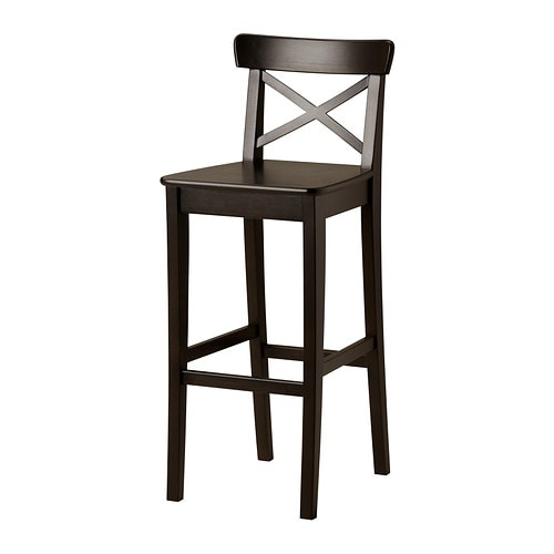 INGOLF Bar stool with backrest IKEA Footrest for extra sitting comfort.
