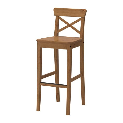 ingolf bar stool with backrest 29 1 8 ikea. Black Bedroom Furniture Sets. Home Design Ideas