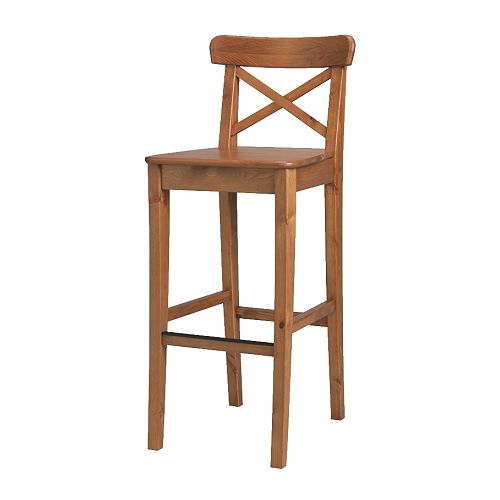 INGOLF Bar stool with backrest IKEA Footrest for extra sitting comfort.  Solid wood, a hardwearing natural material.