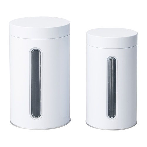 INRE Storage tin with lid, set of 2 IKEA Suitable for cakes, biscuits and other dry foods.