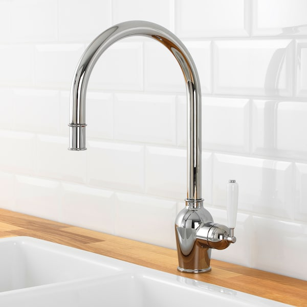 INSJÖN Kitchen faucet with pull-out spout, chrome plated