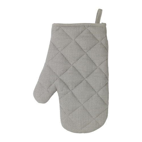 IRIS Oven mitt IKEA Middle layer of quilted polyester that protects very well against heat.  Can be used on either the right or left hand.