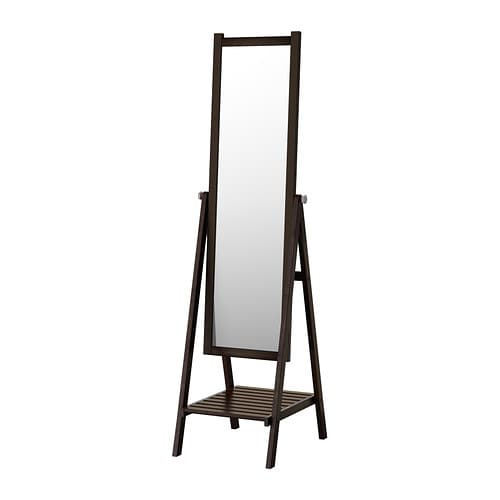 ISFJORDEN Floor mirror, black-brown stain black-brown stain 18 1/2x71 5/8