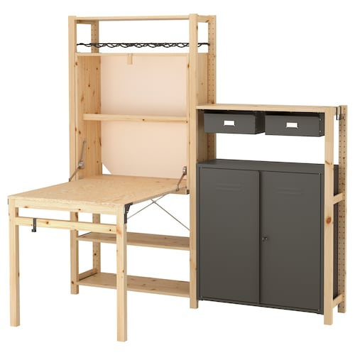 IKEA IVAR 2 section unit with foldable table