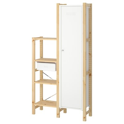 IVAR 2 section shelving unit w/cabinet, pine/white, 36 1/4x11 3/4x70 1/2 ""