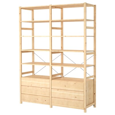 IVAR 2 section shelving unit with chest, pine, 68 1/2x19 5/8x89 ""